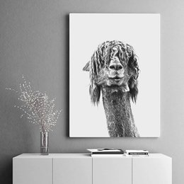 bedrooms paintings black white Australia - Black White Alpaca Canvas Poster Animal Nurser Print Wall Art Painting Nordic Kids Decoration Pictures Baby Bedroom Decor