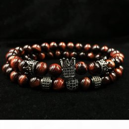 men s gift sets Australia - L 2018 New Men ' ;S Bracelet 2pcs Set Of Luxury Natural Tiger Eye Stone Cz Crown Charm Jewelry Bracelet Holiday Gift Bracelet