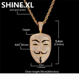 vendetta chain NZ - V for Vendetta Mask Pendant Necklace with Rope Chain Iced Out Zircon Mens Hip Hop Jewelry Gift
