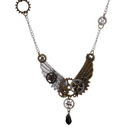 tree gear Canada - 1PC Fashion Vintage Gothic Angel Wings Pendant Necklace Machinery Gear Pendant Steampunk Necklace for Girls Boys Men Women