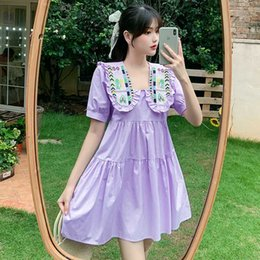 5300# Maternity Clothes Summer Short Sleeve Peter Pan Collar Embroidery Dress for Pregnant Women Mom Dress