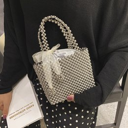 handmade cell phone covers UK - Handmade Pearl Bag Women Handbags Small Box Party Vintage Shoulder Bag Female Top Handle Purse Evening Bags Black Silver