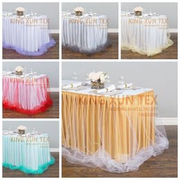 fabric for table cloth NZ - For Wedding Decoration Ice Silk Table Skirt \ Table Cloth Skirting With Tutu Valance Fabric Curtain