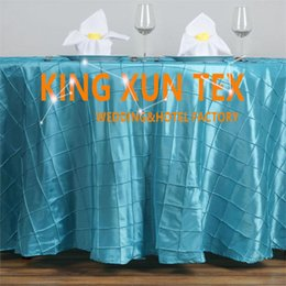 cheap round polyester table cloths NZ - Wholesale Price Pintuck Taffeta Table Cloth \ Cheap Wedding Table Cloth For Event Party Decoration Free Shipping