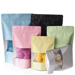 eco bean bag UK - Color Maple Leaf Aluminum Foil Bag Grain Snack Food Chocolate Coffee Bean Packaging Bags With Frosted Matte Window