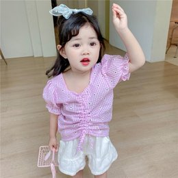 sexy half shirt girls NZ - Web celebrity French daisies girls ' sexy clavicle drawstring shirt children's and Children's plaid square collar shirt