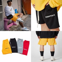 plastic bag drawstring Australia - 20Ss Essentials Mens Pocket Cowhide Plastic Bag Short Pant France Italy New Hot Fashion Paris Letter Embroidery Cotton WoEssentials Mens #527