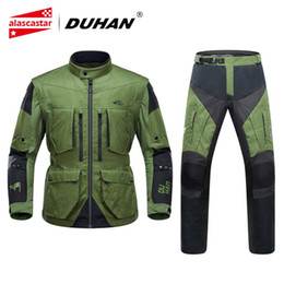 xxl motocross gear NZ - DUHAN Motorcycle Jacket Men Breathable Jaqueta Motociclista Moto Motocross Jacket Motorbike Riding Jackets Protective Gear Set