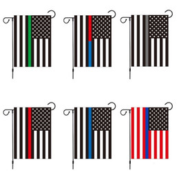 Wholesale cloth american flag resale online - hot cm Blue Striped American Flag For Amercia President Campaign Banner Ployester Cloth Pennant Garden Flags T2I51258