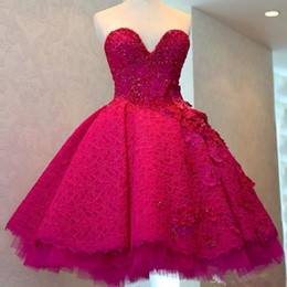 short long sleeve feather cocktail dress NZ - 2020 Fuchsia Lace Ball Gown Short Prom Dresses Sweetheart Crystal Appliques Evening Party Dress Ruched Mini Cocktail Gowns