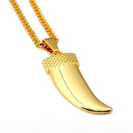 wolf teeth Canada - R Men ' ;S Hip Hop Fashion Necklace Iced Out 18k Gold Plated Wolf Tooth Pendant Necklace 75cm Cuban Chain Necklace