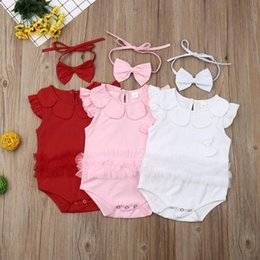 Discount white ruffle lace romper Emmababy Toddler Kids Baby Girls Cotton Ruffle Lace Bowknot Romper Bodysuit Summer Outfit