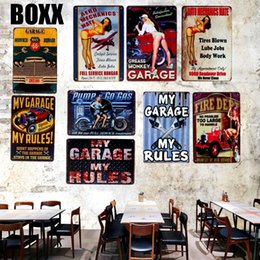 iron art car UK - Hot Rod Garage Tin Signs Vintage Car Motor Oil Metal Plate Garage Wall Bar Home Art Decor Vintage Iron Poster Cuadros