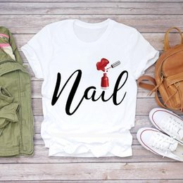 ladies graphic t shirts UK - Women 2020 Summer Fingernail Nail Art Make 90S Ladies Lady T Shirts Top T Shirt Ladies Womens Graphic Female Tee T Shirt