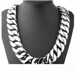 boys curb chains NZ - 72CM 31mm Super Heavy Thick Silver Flat Round Curban Curb Chain Titanium steel Link necklace Mens Boys Chain 316L Stainless Steel Necklace