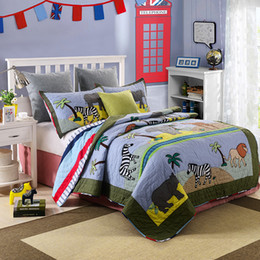 Cartoon Kids Bedding Sets Animals Zebra Elephant Quilting Quilts 2pcs Set Handmade Patchwork Cotton Bed Spread Coverlets Bed Cover Set on Sale