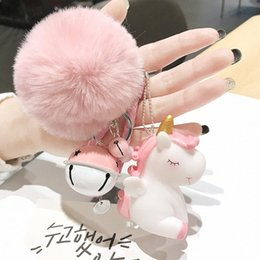 keys bell NZ - Cute Plush Pompom Unicorn Keychain Round Ball Pom Pom Faux Fur Key Chain Trinket Car Bag Bell Key Ring Gift Porte Clef E16X#