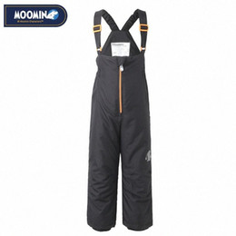 zipper pants for boys NZ - Moomin Winter Zipper Pants 2017 New Polyester Solid Boys Straight Zipper Woven Winter Pants Waterproof Overalls For Kids Turquoise Sus 2cum#