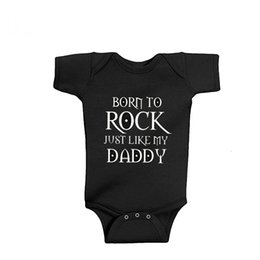 baby lace bodysuit UK - New Arrival Baby Clothes Rock Black Cotton Short Sleeve Baby Bodysuit Baby Boys Girls Clothes Funny Clothing 0 18M