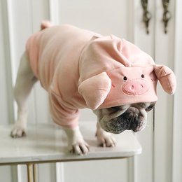 clothes pugs UK - Pug Cute Pig Shape Velvet Funny Costume Pet Dog Clothes for Small Dogs Pets Clothing Yorkshire Pug French Bulldog Hoodies S-L T200710