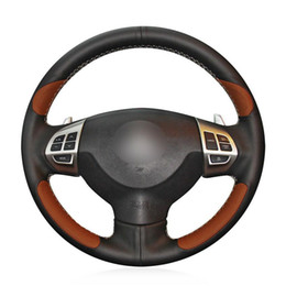 mitsubishi steering wheels Canada - For Mitsubishi Lancer EX  ASX car steering wheel cover black brown leather