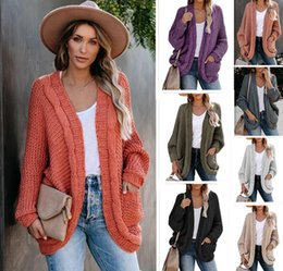 preppy clothing women UK - Women Casual Loose Cardigan Sweater Hot Fashion Trend Thick Needle Sweater Coat Designer New Female Long Sleeve Solid Color Tops Clothing