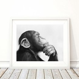 black wall picture frames NZ - Canvas Painting Picture Monkey Black and White Wall Art Animal Print Home Decor Poster Cuadros For Living Room Modular Framed