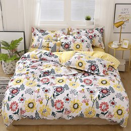 red flowers purple bedding UK - Flower printing Pastoral Style bedding set fashion Duvet Cover and pillowcase Twin Full Queen King Size luxury Home Textiles