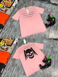 skull tshirts Canada - 20ss New luxurious brand designer wings skull letters print pink Tshirts Crewneck Tee Breathable Shirt Streetwear Outdoor Tshirt 7.17