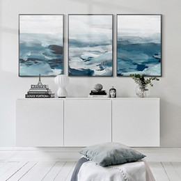 scenery paintings for living room Australia - 3 Panels Modern Abstract Blue Sea Scenery Oil Painting Nordic Wall Art Canvas Poster Prints Wall Pictures for Living Room Home Decoration