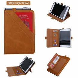 "waterproof cover for ipad Australia - Luxury Vintage Leather Smart Wallet Card Stand Magnetic Flip Book Tablet Case for IPad Mini 1 2 3 4 5 7.9"" Universal Cover+pen"