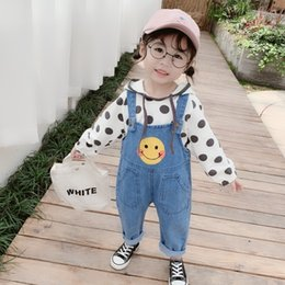 jeans girls suspenders Canada - Girls Smiley denim suspender pants 2020 spring new fashionable 123456-year-old and jeans Sling jeans baby girl denim pants fashion