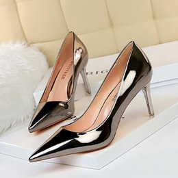 low heel black sexy shoes NZ - Funny2020 Fashionable Sexy 9511-a7 Metal Heel Low Mouth Pointed Nightclub Slimming High Heels Women's Single Shoes