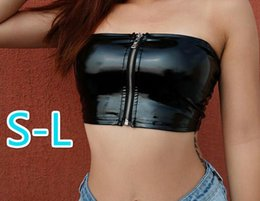 hot sexy leather shorts UK - Sexy New Wrapped Chest Pu Leather Zipper Short T Shirt Hot Womens Clothing Drop Shipping Good Quality