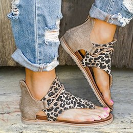 snake print sandals NZ - Wholesale Flat sandals leopard print snake summer shoes plus-size Andal Beach leather sandals retro Gladiator flip flops