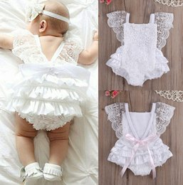 baby lace bodysuit UK - New Cute Newborn Infant Baby Girl Summer Cotton Clothes Lace Ruffles Bodysuit Sunsuit Outfits Clothes