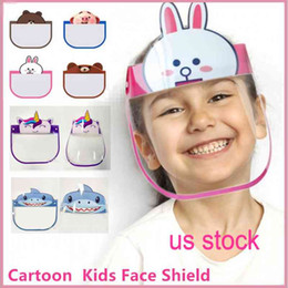 cute cartoon face masks Australia - DHL Cute 10 Pcs Kid Cartoon Face Shield Transparent Protective Masks Dustproof Anti-Fog Full Face Shield Anti Dust Windproof PET Party Mask