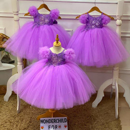 cheap christmas tutus Australia - Lovely Purple Tutu Flower Girls Dresses With Lace Appliqued Beaded First Cummunion Drsses For Toddler Cheap