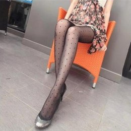 Wholesale vintage pantyhose resale online - Women Sexy Tights Small Black Dot Silk Stockings Thin Lady Vintage Stockings Pantyhose For Female Hosiery