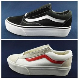 Wholesale movie size online – design New Van Style Black White Suede Thick platform Old Skool Classic Women Casual shoes Skateboard Canvas Sports Sneakers Trainers Size