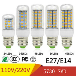 Wholesale SMD5730 E27 GU10 B22 E14 G9 LED lamp 7W 12W 15W 18W 20W 220V 110V 360 angle SMD LED Bulb Led Corn light