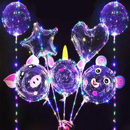 Wholesale 20 inch BOBO Balloon led light Multicolor Luminous 70cm Pole 3M 30LEDs Night Lighting for Party Balloon Wedding Holiday Decoration