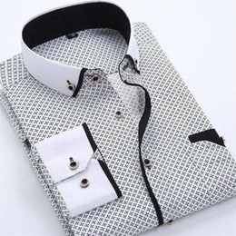 Wholesale dress shirt mens for sale - Group buy Mens Dress Shirts Designer Casual Slim Fit Long Sleeve Business Shirt Male Dot Print Autumn Formal Cotton Shirts Men New Brand