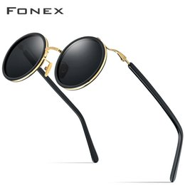 sunglasses round face men UK - FONEX Acetate Titanium Sun Glasses for Men Small Face Vintage Retro Round Polarized Sunglasses Women 2020 New UV400 Shades 8524