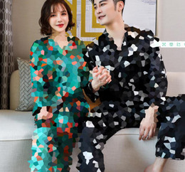 Top Grade Printed Couple Sleepwear Fashion Ice Silk Casual Nightgowns High Quality Satin Romantic Sexy Pajamas on Sale