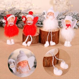 christmas tree angel Canada - Mini Cute Plush Angel Christmas Tree Pendants Ornaments Home Decoration Xmas Gift
