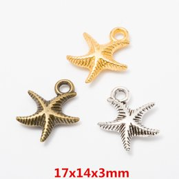beach earrings UK - 100pcs 17*14mm Vintage bronze antique rose gold nautical beach starfish charms pendant for bracelet earring necklace diy jewelry