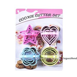 heart cutters NZ - Baking Mould Star Heart Flower Cutter 12pcs set Stainless Steel Cookies Mould Fruit Bread Cutter Biscuit DIY Mold