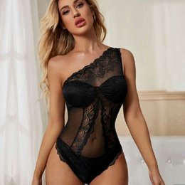 Femmes Sexy Designer Fashion barboteuses une épaule See Through Black Lace Skinny Sexy Tenues Womon Salopette