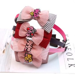 double boutique bow UK - Korean style children's double bow wide head cute band butterfly hair band kawaii small public hair accessories boutique C09